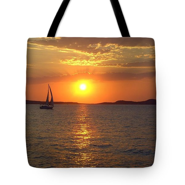 Sailing Boat In Ibiza Sunset Tote Bag