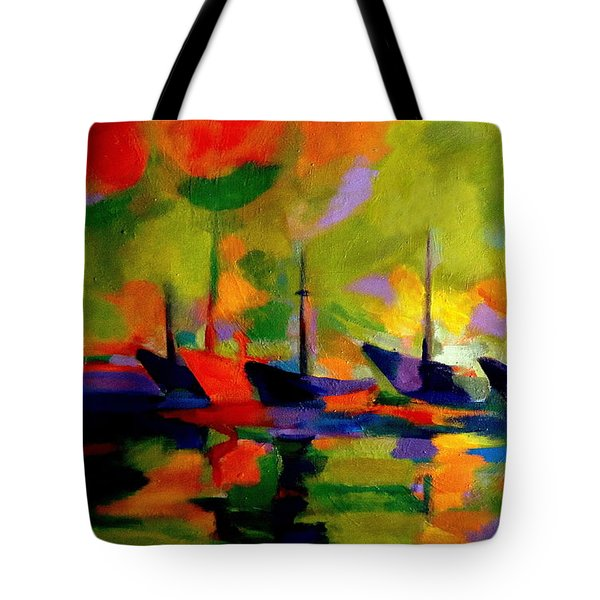 Sailing Boats By The River Tote Bag by Helena Wierzbicki