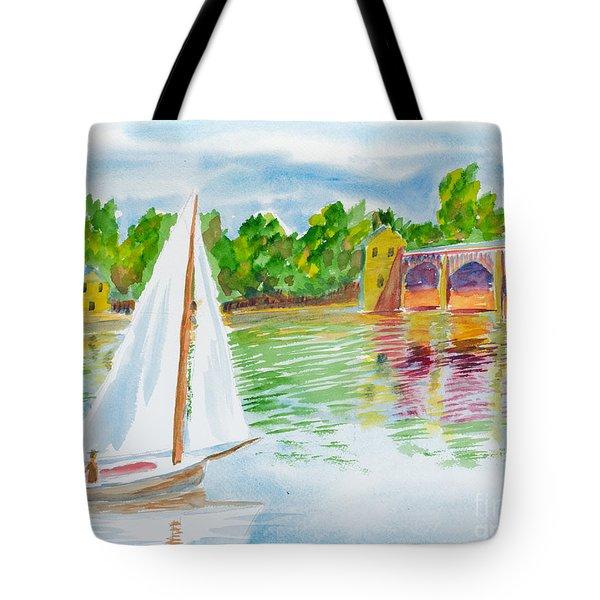 Sailing By The Bridge Tote Bag