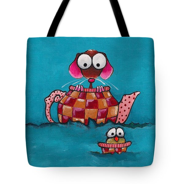 Sailing In A Teapot Tote Bag by Lucia Stewart