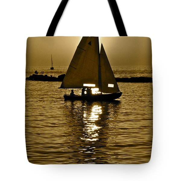 Sailing In Sepia Tote Bag by Frozen in Time Fine Art Photography