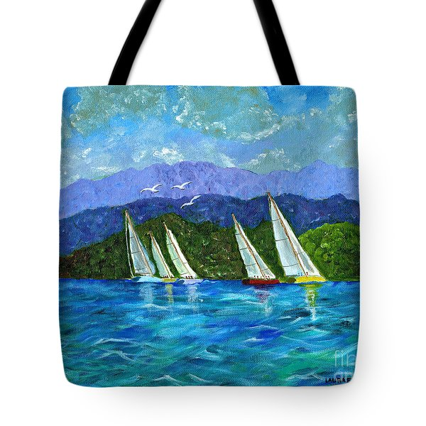 Tote Bag featuring the painting Sailing by Laura Forde