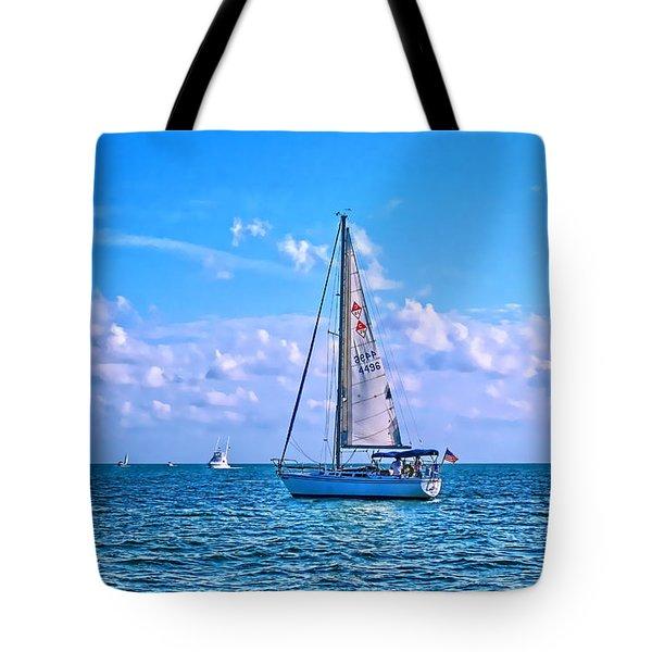 Sailing Off Of Key Largo Tote Bag