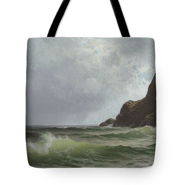 Sailing Off The Coast Tote Bag by Alfred Thompson Bricher