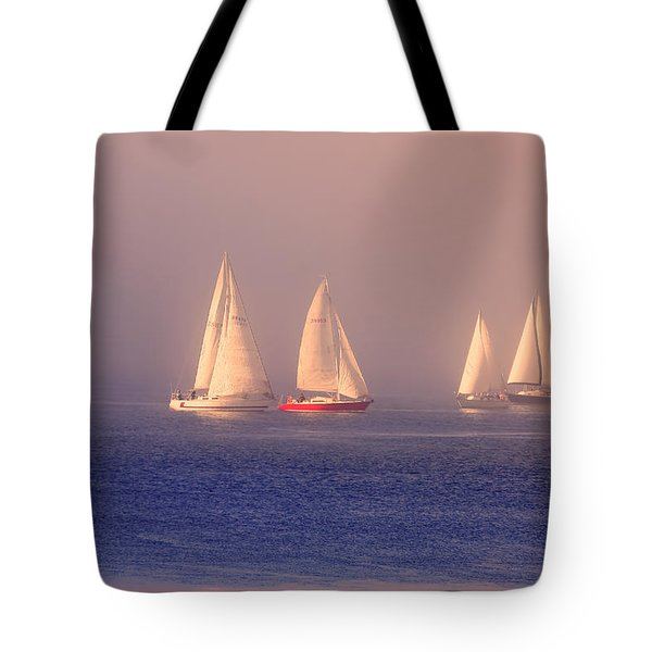 Sailing On A Misty Ocean Tote Bag