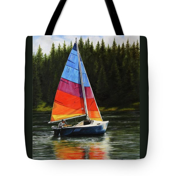 Tote Bag featuring the painting Sailing On Flathead by Kim Lockman