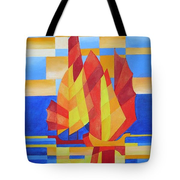 Tote Bag featuring the painting Sailing On The Seven Seas So Blue by Tracey Harrington-Simpson
