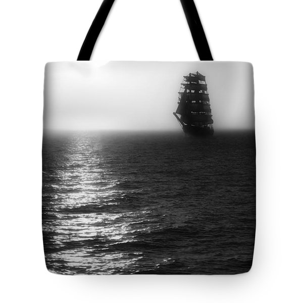 Sailing Out Of The Fog - Black And White Tote Bag