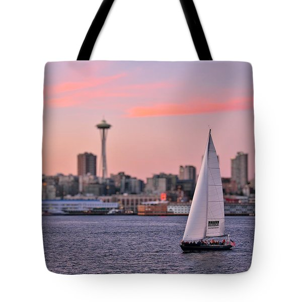Sailing Puget Sound Tote Bag by Adam Romanowicz