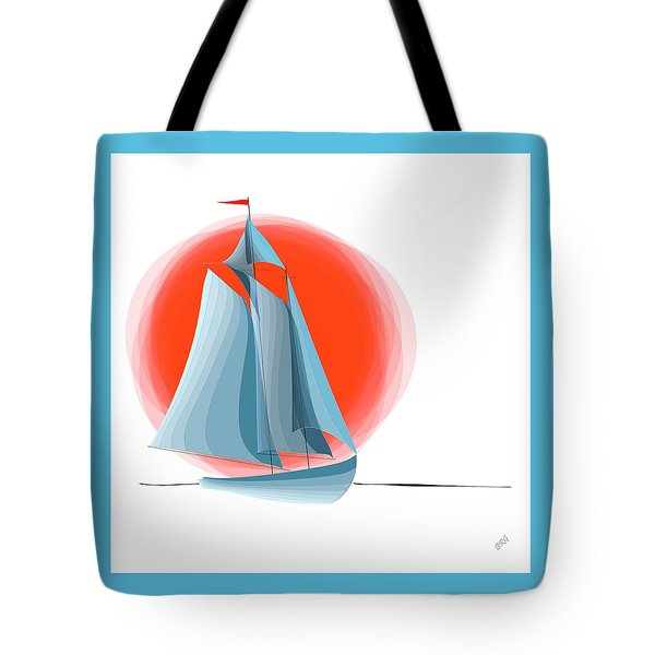 Sailing Red Sun Tote Bag by Ben and Raisa Gertsberg