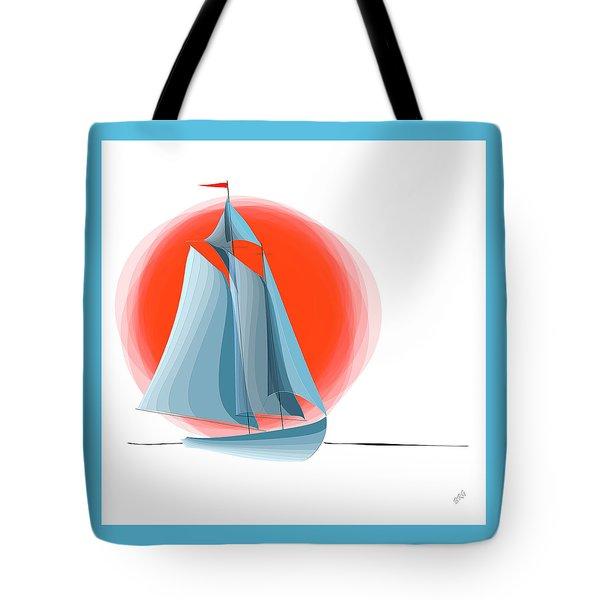 Sailing Red Sun Tote Bag