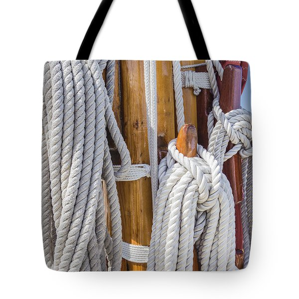 Tote Bag featuring the photograph Sailing Rope 4 by Leigh Anne Meeks