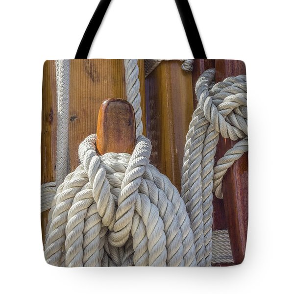 Tote Bag featuring the photograph Sailing Rope 5 by Leigh Anne Meeks