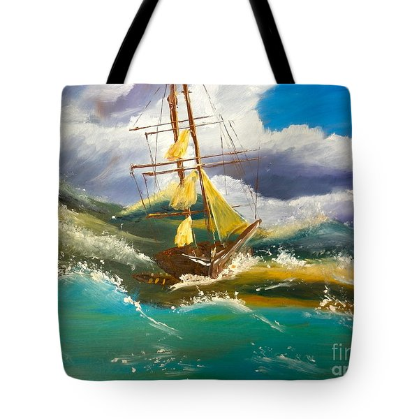 Sailing Ship In A Storm Tote Bag