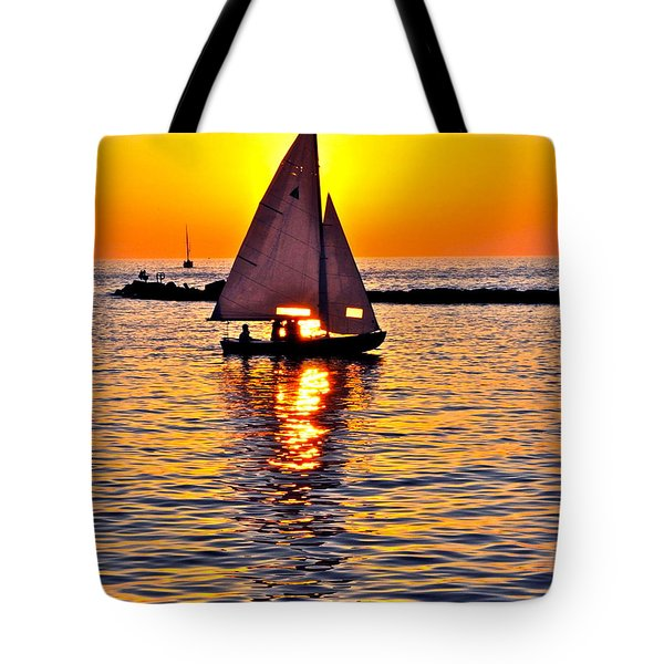 Sailing Silhouette Tote Bag by Frozen in Time Fine Art Photography