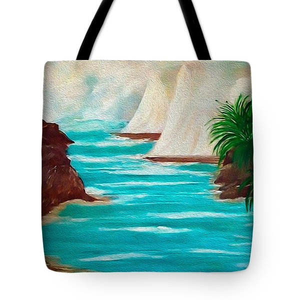 Tote Bag featuring the painting Sailing The Coast Of California by Sherri  Of Palm Springs