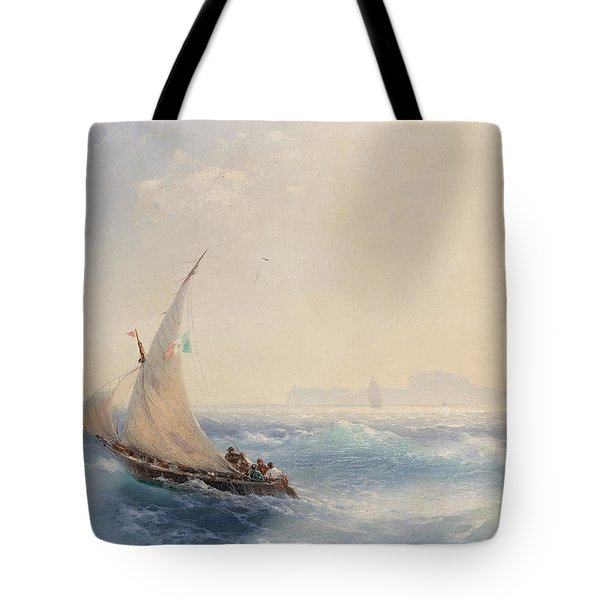 Shipping Off The Island Of Ischia Tote Bag
