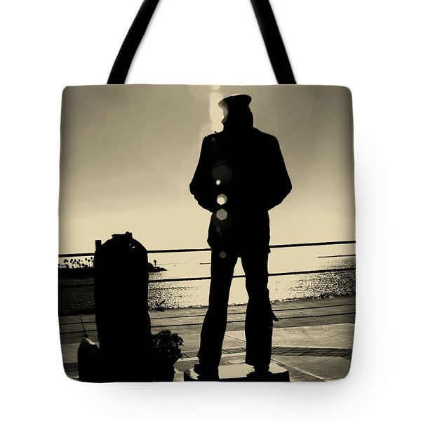 Sailor Statue Over Long Beach Harbor Tote Bag