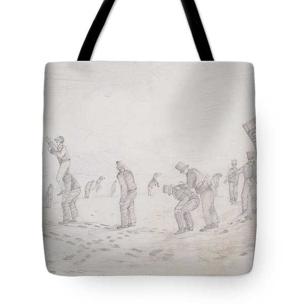 Sailors Playing At Leap Frog, From Sketches Of The Second Parry Arctic Expedition, 1821-2 Graphite Tote Bag