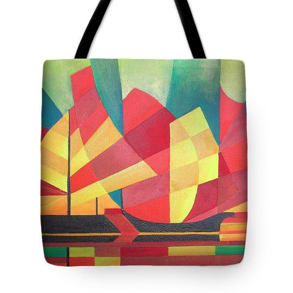 Tote Bag featuring the painting Sails And Ocean Skies by Tracey Harrington-Simpson