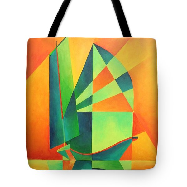 Tote Bag featuring the painting Sails At Sunrise by Tracey Harrington-Simpson