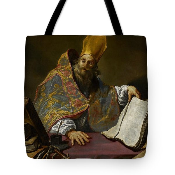 Saint Ambrose Tote Bag by Claude Vignon