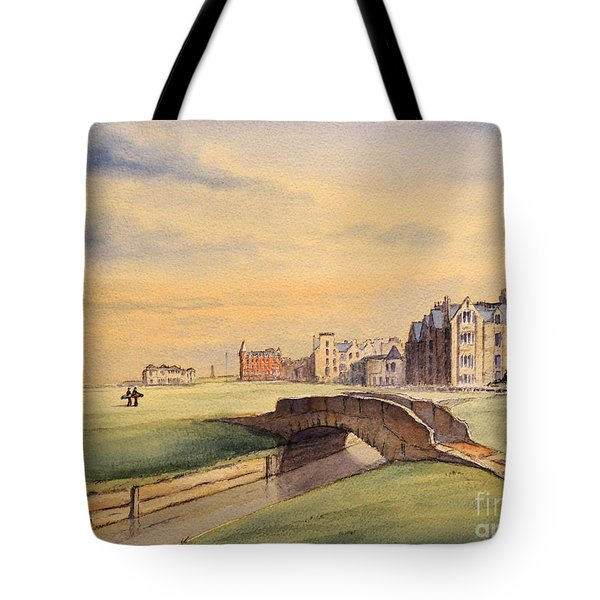 Saint Andrews Golf Course Scotland - 18th Hole Tote Bag by Bill Holkham