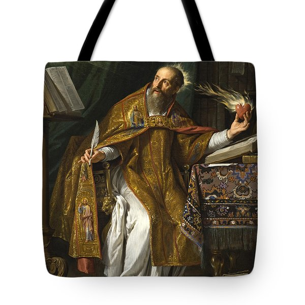 Tote Bag featuring the painting Saint Augustine by Philippe de Champaigne