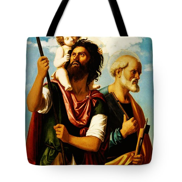 Saint Christopher With Saint Peter Tote Bag by Bill Cannon