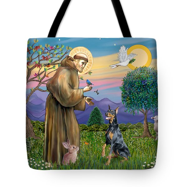 Saint Francis And Doberman Pinscher Tote Bag