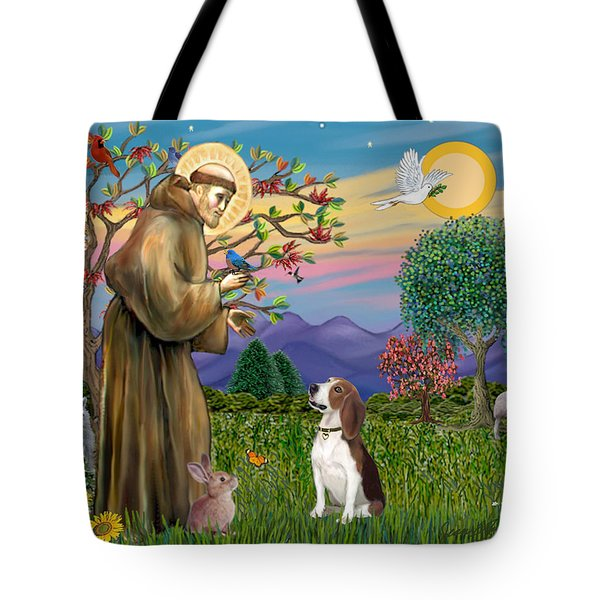 Saint Francis Blesses A Beagle Tote Bag