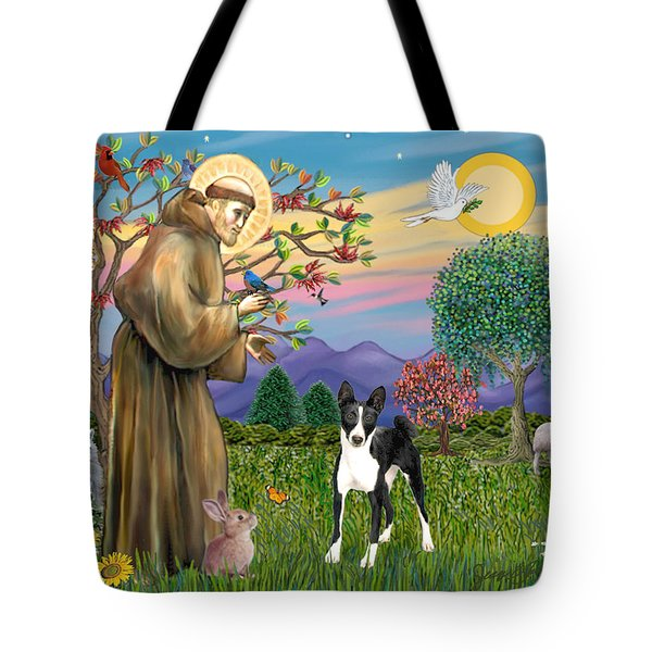 Saint Francis Blesses A Black And White Basenji Tote Bag
