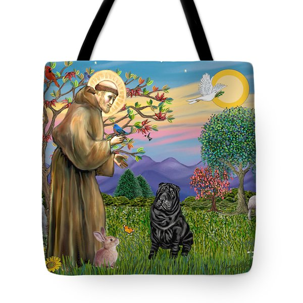 Saint Francis Blesses A Black Chinese Shar Pei Tote Bag