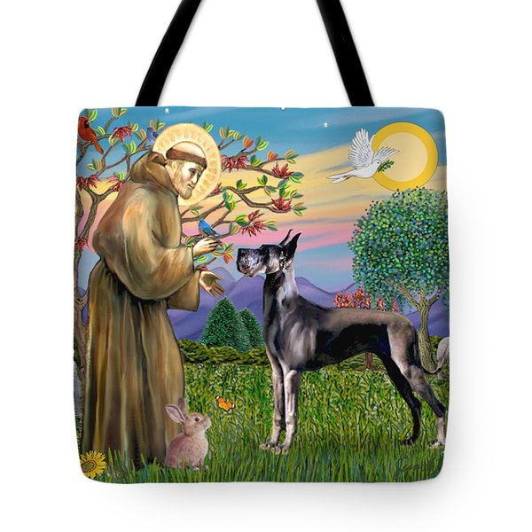 Saint Francis Blesses A Black Great Dane Tote Bag
