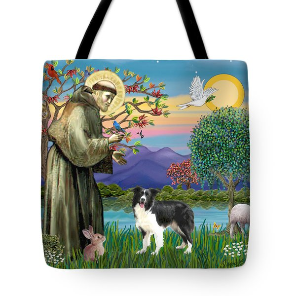 Saint Francis Blesses A Border Collie Tote Bag