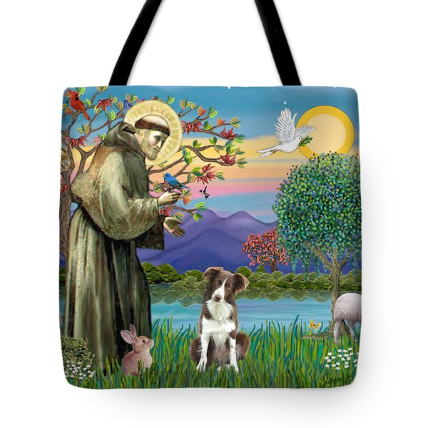 Saint Francis Blesses A Brown And White Border Collie Tote Bag