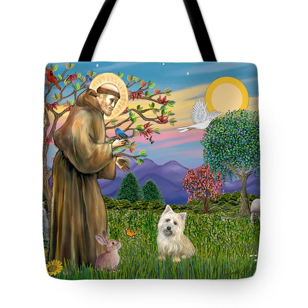 Saint Francis Blesses A Cairn Terrier Tote Bag