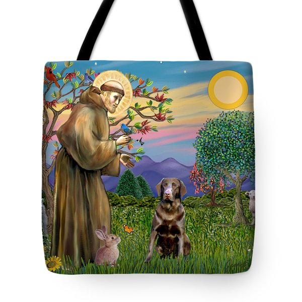 Saint Francis Blesses A Chocolate Labrador Retriever Tote Bag
