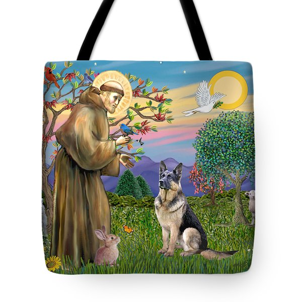 Saint Francis Blesses A German Shepherd Tote Bag
