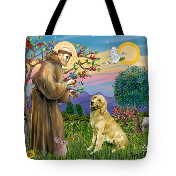 Saint Francis Blesses A Golden Retriever Tote Bag