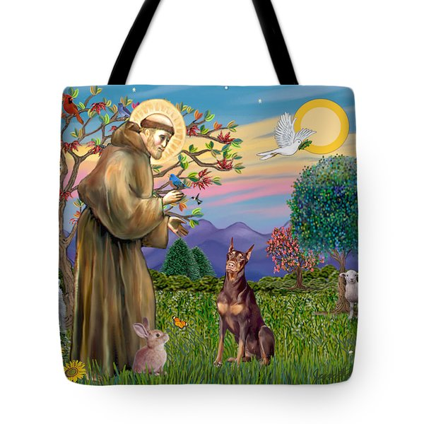 Saint Francis Blesses A Red Doberman Tote Bag