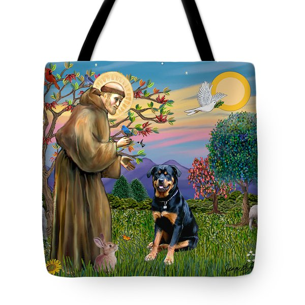 Saint Francis Blesses A Rottweiler Tote Bag
