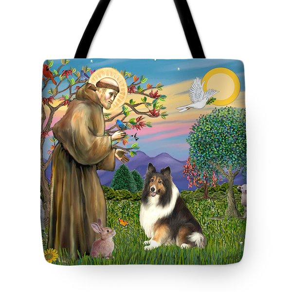 Saint Francis Blesses A Sable And White Collie Tote Bag by Jean Fitzgerald