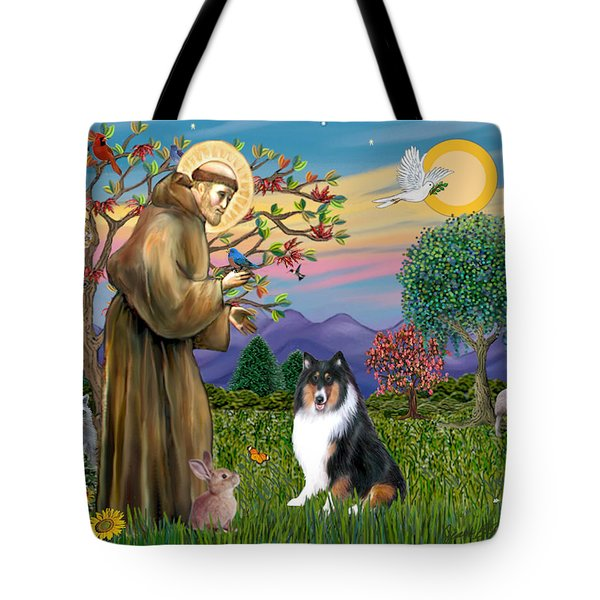Saint Francis Blesses A Tri Color Collie Tote Bag by Jean B Fitzgerald