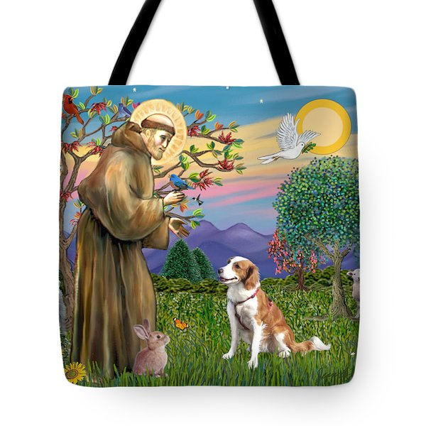 Saint Francis Blesses A Welsh Springer Spaniel Tote Bag by Jean Fitzgerald