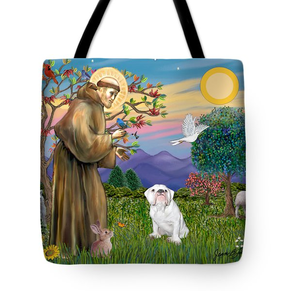 Saint Francis Blesses An English Bulldog Tote Bag by Jean Fitzgerald