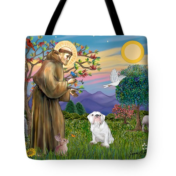 Saint Francis Blesses An English Bulldog Tote Bag