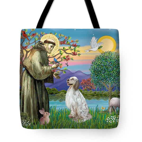 Saint Francis Blesses An English Setter Tote Bag by Jean B Fitzgerald