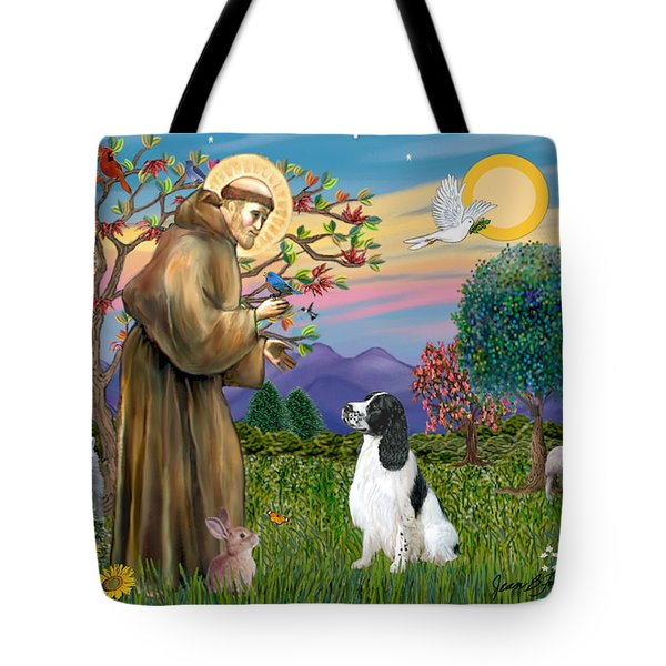 Saint Francis Blesses An English Springer Spaniel Tote Bag by Jean Fitzgerald