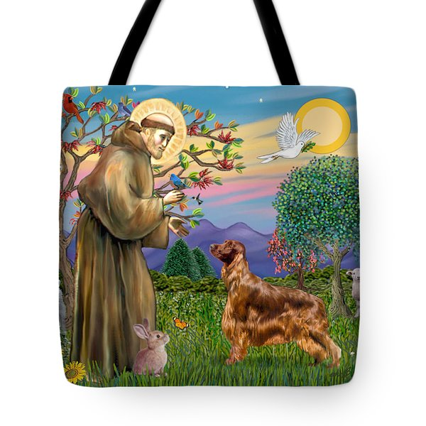 Saint Francis Blesses An Irish Setter Tote Bag by Jean Fitzgerald